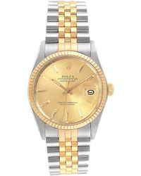 Rolex Gold Diamonds 18k Yellow Gold And Stainless Steel Datejust 16013 Men's Wriswatch 36 Mm - Metallic