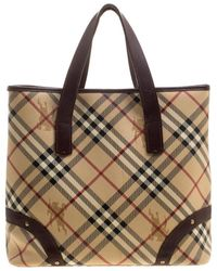 Burberry -  brown Haymarket Check Canvas And Leather Tote - Lyst a28cded08b3a4