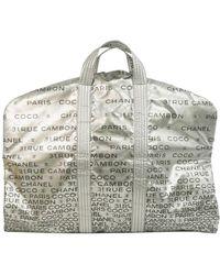 Chanel Silver Nylon 31.rue Cambon Garment Bag - Metallic