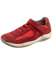 Prada Red Suede And Nylon Low Top Trainer