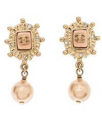 Chanel Cc Gold Tone Faux Pearl And Enamel Clip On Drop Earrings - Metallic