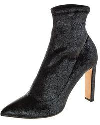 Jimmy Choo Metallic Gunmetal Stretch Velvet Louella Sock Boots