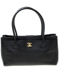 Chanel Black Leather Cerf Shopping Tote