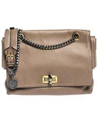 Lanvin Beige Leather Happy Flap Shoulder Bag - Natural