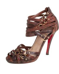 Christian Louboutin Brown Snakeskin Strappy Sandals