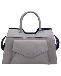 Proenza Schouler Gray Leather Small Ps13 Satchel
