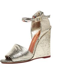Charlotte Olympia Metallic Gold Crackled Leather Mischievous Wedge Sandals