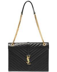 Saint Laurent Saint Laurent Black Chevron Leather Large Cassandre Flap Bag