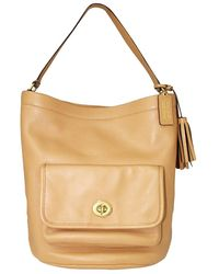 COACH Beige Leather Bucket Totes - Natural