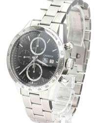 Tag Heuer Black Stainless Steel Carrera Chronograph Automatic Cv2016 Wristwatch 41 Mm