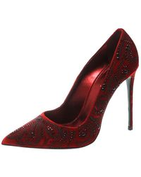 Le Silla Red Crystal Embellished Velvet Pointed Toe Court Shoes