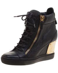 Giuseppe Zanotti - Leather Hidden Wedge Sneakers - Lyst