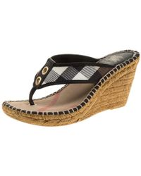 Burberry Black Novacheck Canvas Espadrille Thong Wedge Sandals Size 35