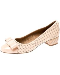 Ferragamo Beige Perforated Leather Vara Bow Pumps - Natural