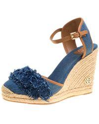 05ead7f69fe Blue Denim Shaw Espadrille Wedge Sandals Size 41
