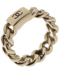 Chanel - Cc Logo Gold Tone Chain Ring Size 52.5 - Lyst