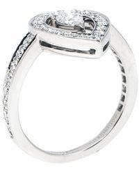 Boucheron Ava Pear Diamond 18k White Gold Ring Size 53 - Metallic