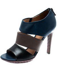 Bottega Veneta Tricolor Leather Open Toe Cut Out Booties Size 36.5 - Blue