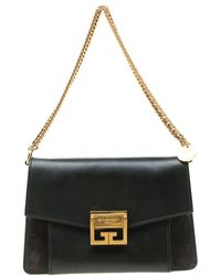 Givenchy Black Leather And Suede Gv3 Crossbody Bag