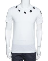 Givenchy White Cotton Star Appliqued '74' Cuban Fit T-shirt