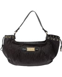 Aigner Dark Brown Signature Canvas And Leather Drawstring Hobo