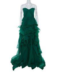 Reem Acra Green Chiffon Silk Layered Ruffle Strapless Gown