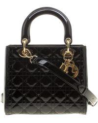 Dior - Patent Leather Medium Lady Tote - Lyst