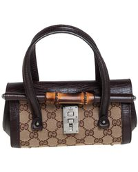 Gucci Mocha Brown/beige GG Canvas And Leather Mini Bamboo Bullet Satchel