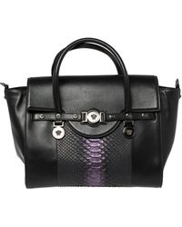 Versace - Black Python And Leather Large Signature Tote - Lyst
