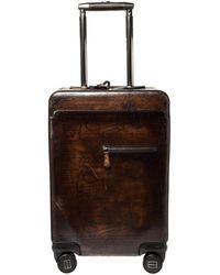 Berluti Caffe Brown Scritto Leather Formula 1004 Rolling Suitcase