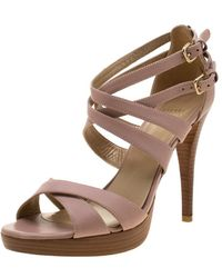 Stuart Weitzman - Blush Leather Cross Strap Sandals Size 39.5 - Lyst