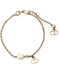 Dior Le Petite E Faux Pearl Gold Tone Bracelet - Metallic
