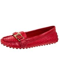 Louis Vuitton Red Python Leather Loafers