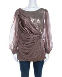 Tadashi Shoji Champagne Stretch Knit Sequined Inlay Draped Sheer Sleeve Top - Metallic