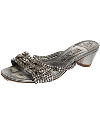 Gina Silver Leather Crystal Embellished Sandals - Gray