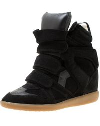 8a9482e86c6c Isabel Marant - Suede And Leather Bekett Wedge Sneakers - Lyst