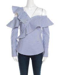 ec8f66d49858 Self-Portrait - Blue And White Striped Ruffle Detail Off Shoulder Asymmetric  Shirt S -