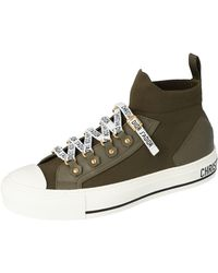 Dior Military Green Technical Knit And Leather Walk'n' High-top Trainers Size 39