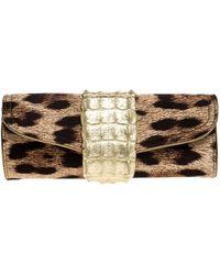 Roberto Cavalli Brown Leopard Print Satin And Leather Clutch