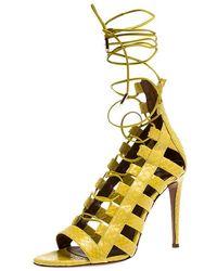 Aquazzura Yellow Python Leather Amazon Lace Up Open Toe Sandals