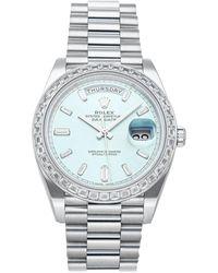 Rolex Blue Iced Diamonds Platinum Day-date 228396tbr Men's Wristwatch 40 Mm
