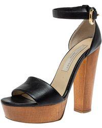 Stella McCartney Black Faux Leather Platform Ankle Strap Sandals