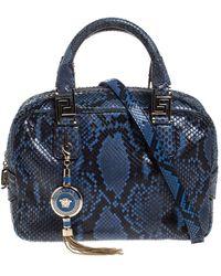 Versace - Versace Blue Python Satchel - Lyst
