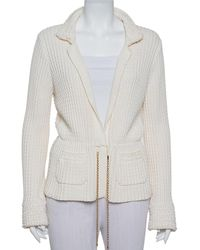 Chanel Cream Chunky Knit Front Tie Detail Vintage Cardigan - Natural