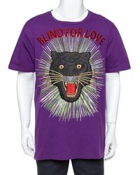 Gucci Purple Cotton Sequin Embellished Tiger Applique Blind For Love T Shirt