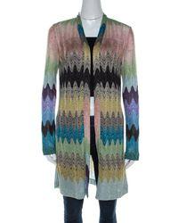 Missoni Multicolour Lurex Knit Open Front Cardigan