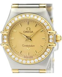 Omega Champagne Diamonds 18k Yellow Gold And Stainless Steel Constellation 1367.10 Women's Wristwatch 22 Mm - Metallic