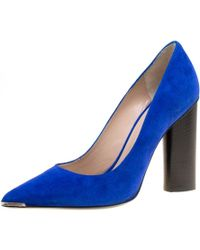 Barbara Bui - Blue Suede Metal Pointed Toe Block Heel Court Shoes Size 38 - Lyst