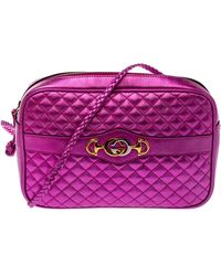 Gucci Fuchsia Laminated Quilted Leather Trapuntata Crossbody Bag - Pink