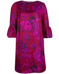 Etro - Rose Printed Silk Flute Sleeve Shift Dress M - Lyst